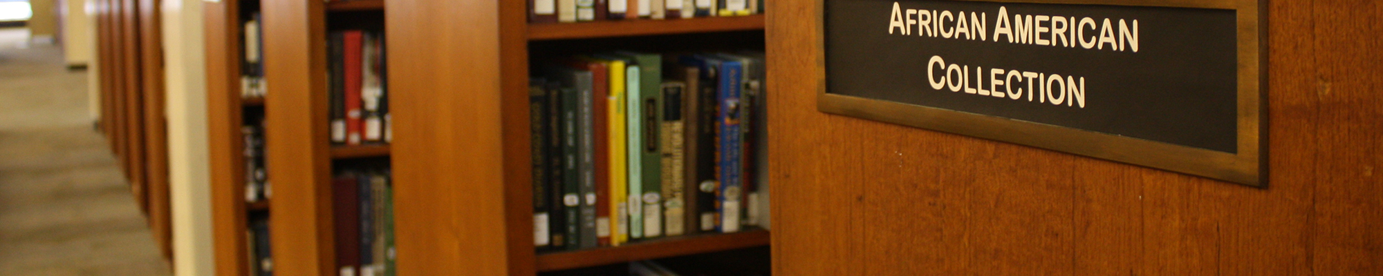 A close-up of the African American Collections sign on the bookshelves in Hillman Library