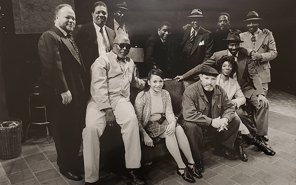 August Wilson with the cast of one his plays.